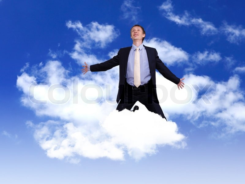 A man in a suit floats on a cloud looking awfully pleased with himself.